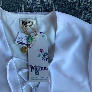 Show Me Your MuMu Tops - Show Me Your Mumu Lightning Bird Lace Up Tunic L